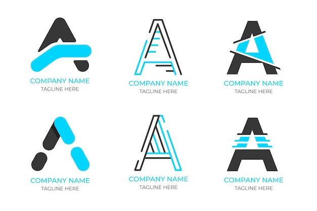 Diseño plano de un paquete de plantillas de logotipos