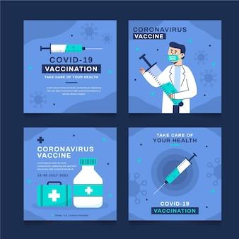 Diseño plano de paquete de publicación de instagram de vacuna