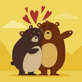 Diseño plano pareja de osos de san valentín