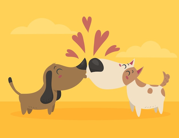 Diseño plano pareja de perros de san valentín