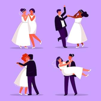 Diseño plano parejas de boda bailando