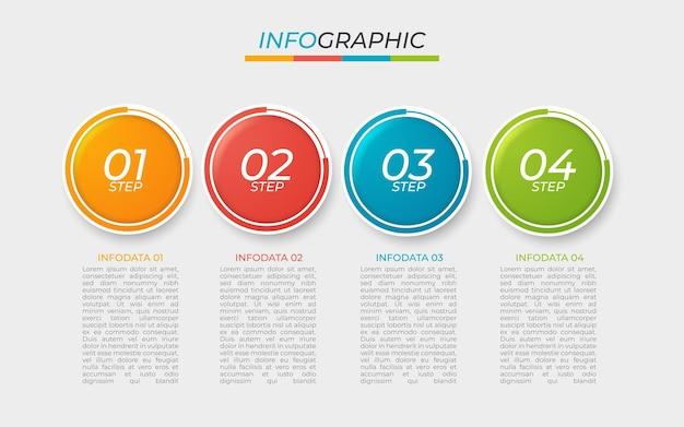 Diseño plano de pasos de infografía colorida