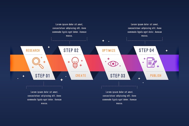 Diseño plano pasos de infografía diseño