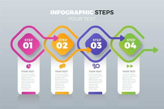 Diseño plano de pasos de infografía empresarial