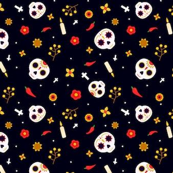 Diseño plano del patrón del día de los muertos con calaveras