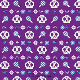 Diseño plano del patrón dia de muertos