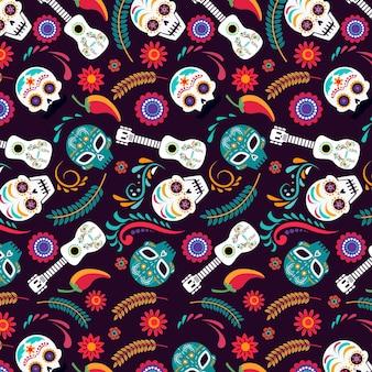 Diseño plano del patrón del día de los muertos