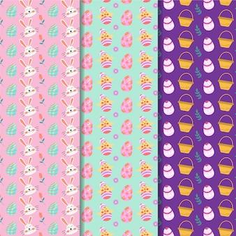 Diseño plano de patrones sin fisuras de pascua con conejitos avatares