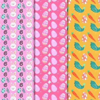 Diseño plano de patrones sin fisuras de pascua con huevos