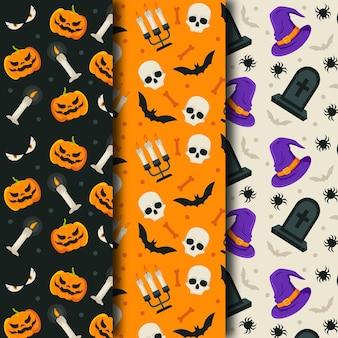 Diseño plano de patrones de halloween