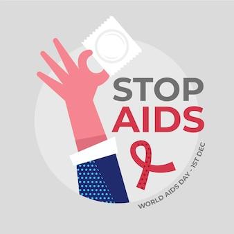 Diseño plano de la persona que sostiene un condón en la ilustración del día del sida