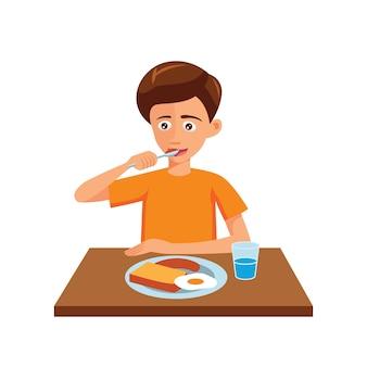 El diseño plano del personaje de dibujos animados del hombre está comiendo