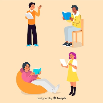 Diseño plano personajes jóvenes leyendo