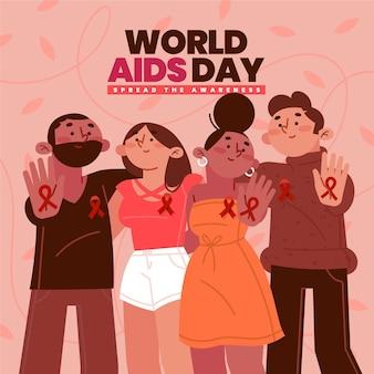 Diseño plano personas del día mundial del sida con cintas