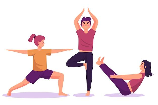 Diseño plano personas haciendo yoga