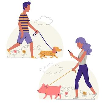 Diseño plano personas paseando mascotas