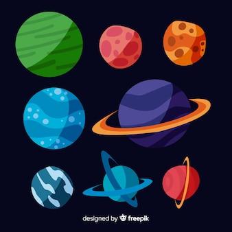 Diseño plano de los planetas de la vía láctea