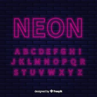 Diseño plano de la plantilla de alfabeto de neón