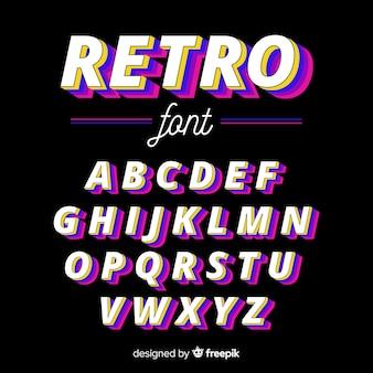 Diseño plano de plantilla de alfabeto vintage