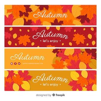 Diseño plano de la plantilla de la bandera del otoño