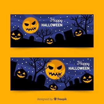 Diseño plano de plantilla de banner de halloween