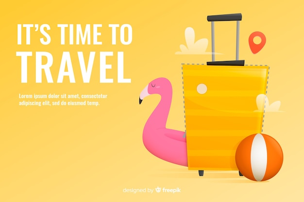 Diseño plano de plantilla de banner de viajes