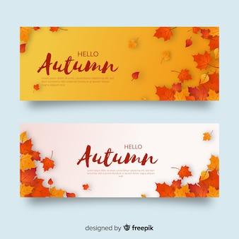 Diseño plano de la plantilla de banners de otoño
