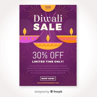 Diseño plano de plantilla de cartel de venta de diwali