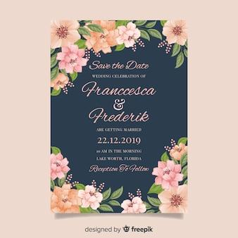 Diseño plano de plantilla de invitación de boda floral