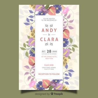 Diseño plano de la plantilla de la invitación de la boda