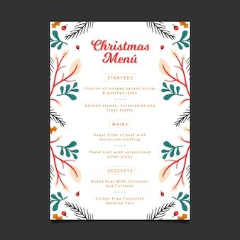 Diseño plano de plantilla de menú de navidad