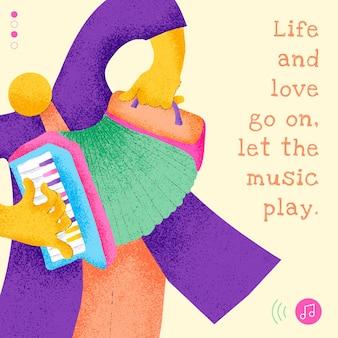 Diseño plano de plantilla de músico editable con publicación de redes sociales de cita musical inspiradora