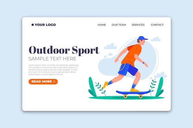 Diseño plano de plantilla de página de aterrizaje de deporte al aire libre