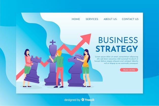 Diseño plano de plantilla de página de aterrizaje de estrategia empresarial