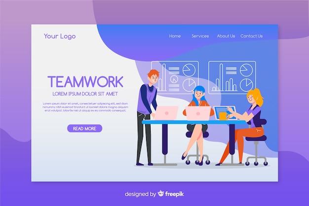 Diseño plano de plantilla de página de aterrizaje de trabajo en equipo