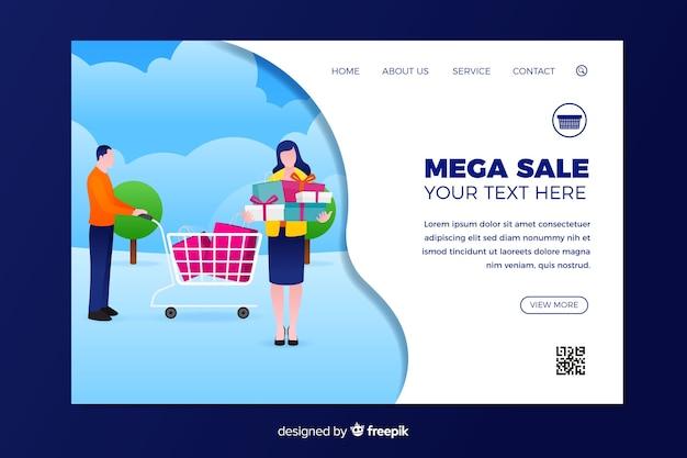 Diseño plano de plantilla de página de aterrizaje de venta