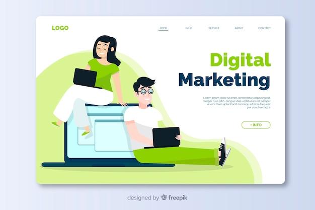 Diseño plano de plantilla de página de destino de marketing