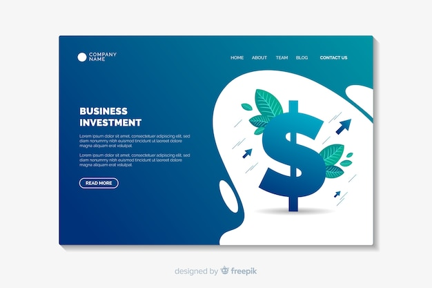 Diseño plano de plantilla de página de destino de negocios