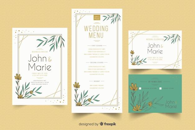 Diseño plano de plantilla de papelería de boda