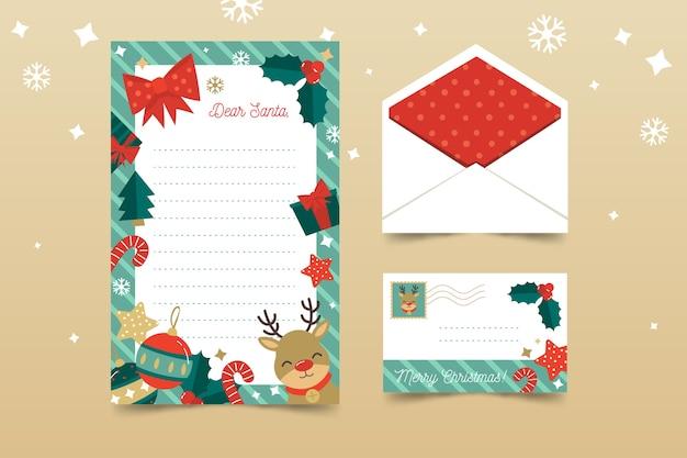 Diseño plano de plantilla de papelería navideña