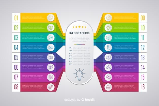 Diseño plano de plantilla de pasos de infografía