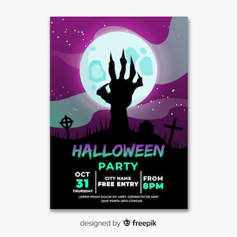 Diseño plano de plantilla de póster de fiesta de halloween