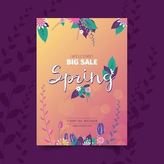 Diseño plano de plantilla de tarjeta de felicitación de primavera