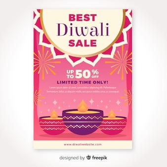 Diseño plano de plantilla de volante de venta de diwali
