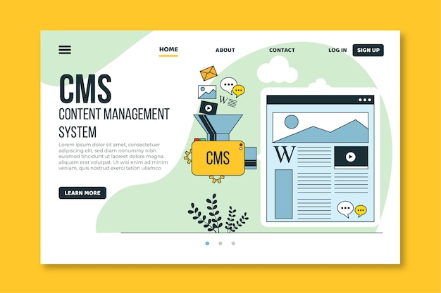 Diseño plano de plantilla web cms