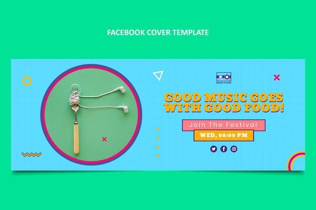 Diseño plano portada de facebook del festival de música de los 90