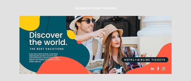 Diseño plano de portada de facebook de viajes.