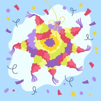Diseño plano posada piñata ilustrada