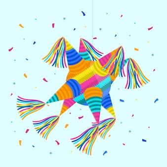 Diseño plano posada piñata