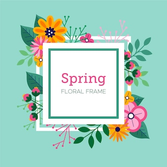 Diseño plano primavera papel tapiz floral marco